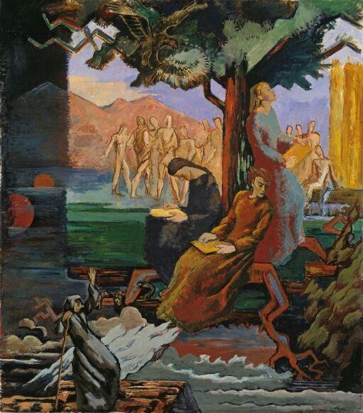 Yggdrasil. Utkast til freske i Universitetsbiblioteket i Oslo