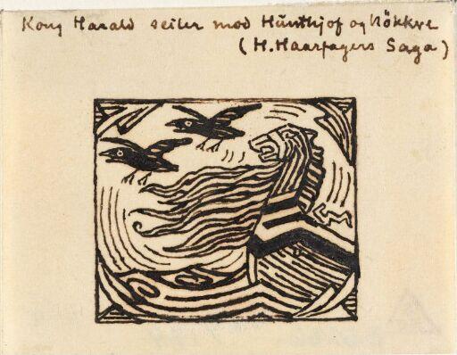 "Variant av vignett til ""Harald Hårfagres saga"" i Snorre Sturlason, Kongesagaer, Kristiania 1899"