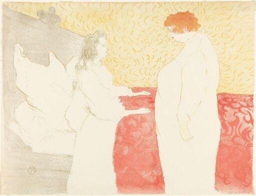 Kvinne i sengen, i profil, på tide å stå opp