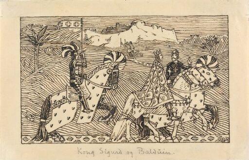 Kong Sigurd og kong Baldvine rir fra Jorsalaborg til Jordan