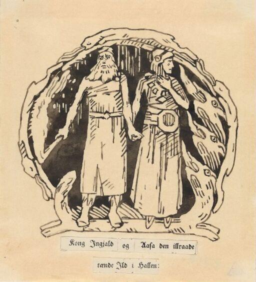 Kong Ingjald og Åsa Illråde tente ild i hallen