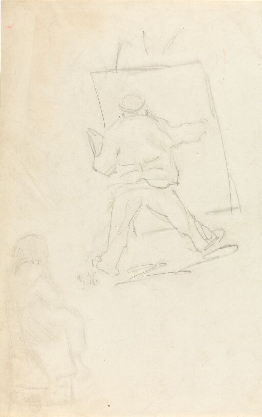 Painter at Easel, probably a Caricature of Frits Thaulow