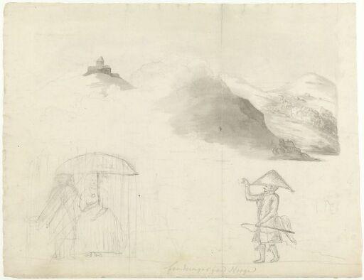 Borg; fjellandskap; par under parasoll; mann med hatt