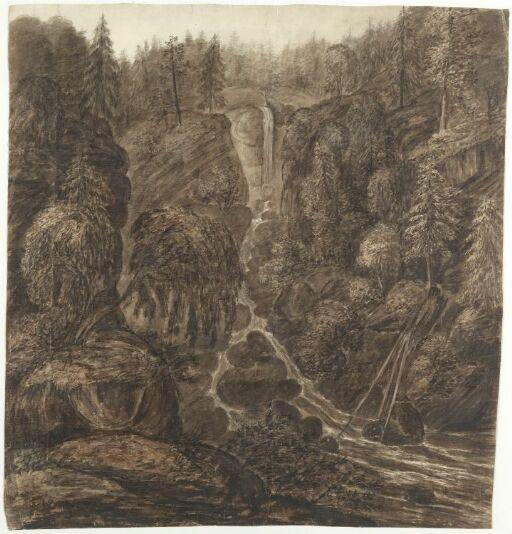 Skoglandskap med liten foss
