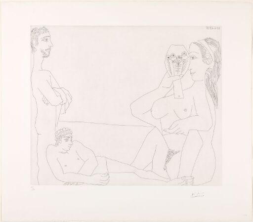 På stranden. Kvinne med speil og to badende menn