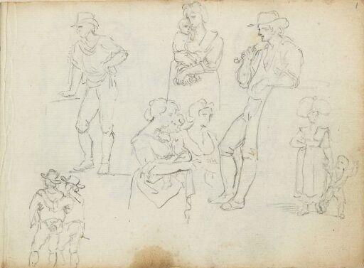Figurstudier; kvinnner, menn og barn