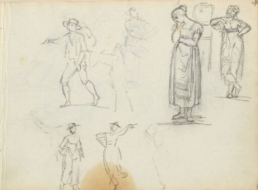 Figurstudier; skridende, stående og dansende figurer