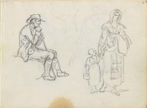 Figurstudier; sittende mann og kvinne med barn