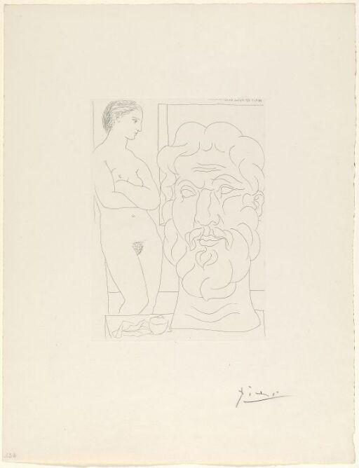 Marie-Thérèse regardant un autoportrait sculpté du sculpteur