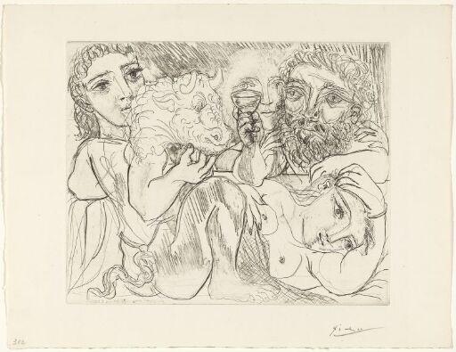 Marie-Thérèse drømmer om forvandlinger: Hun selv og billedhuggeren drikker med en ung gresk skuespiller i rollen som minotauren