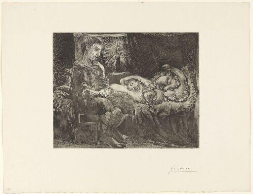 Tenksom gutt våker over en sovende kvinne i skinnet fra et stearinlys