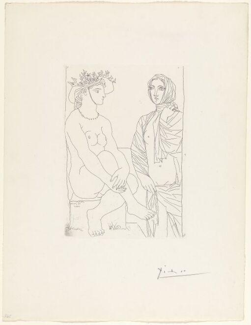 I badet. kvinne med blomstersmykket hatt og drapert kvinne