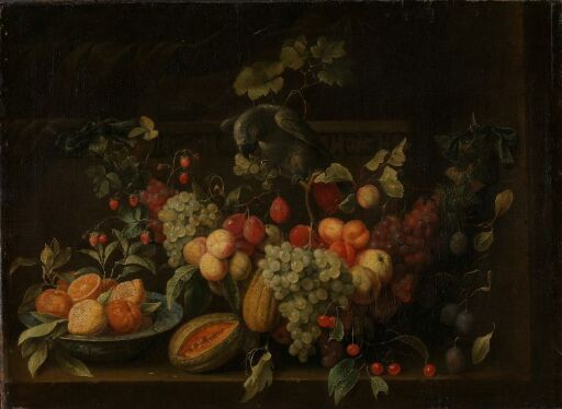 Stilleben med frukter og papegøye