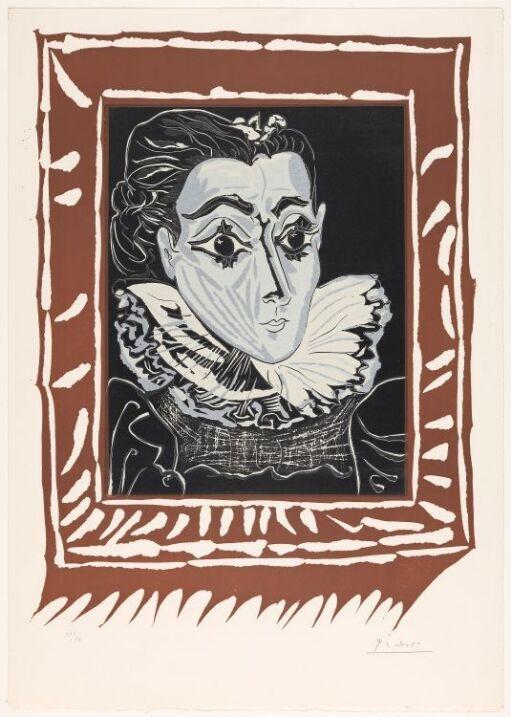Portrett av Jacqueline med pipekrage