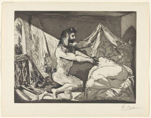 Faun avdekker en sovende kvinne (Jupiter og Antiope, etter Rembrandt)