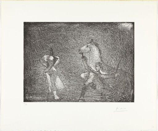 Mann stopper en hest foran en kvinne