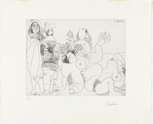 Ung, dukkeaktig adelsmann med soldat og to nakne kvinner