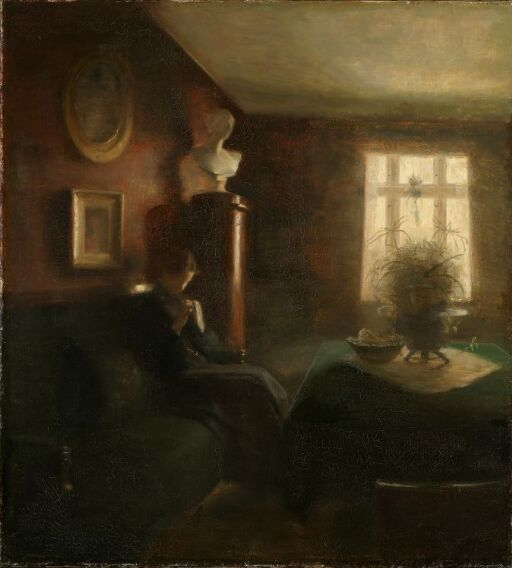 Interior with a Sewing Girl