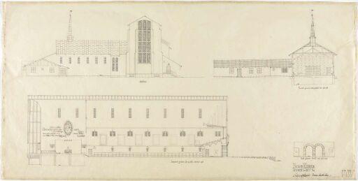Bodø kirke, østfront og snitt