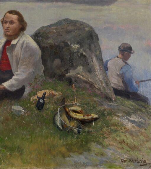P.Chr. Asbjørnsen på tur med fiskergutt