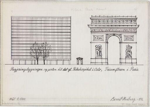Regjeringsbygningen, porten til det gamle Rikshospital i Oslo, Triumfbuen i Paris
