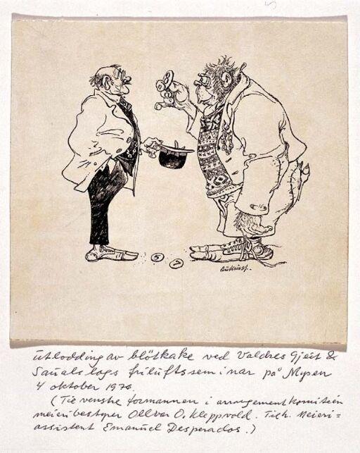 Utlodning av bløtkake ved Valdres Gjeit & Saualslags friluftsseminar på Mysen 4 oktober 1976