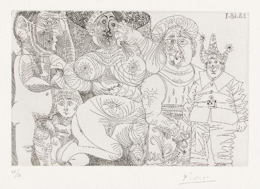 Kvinne med hatt og nellik, mann med turban, klovn, putto og tilskuer
