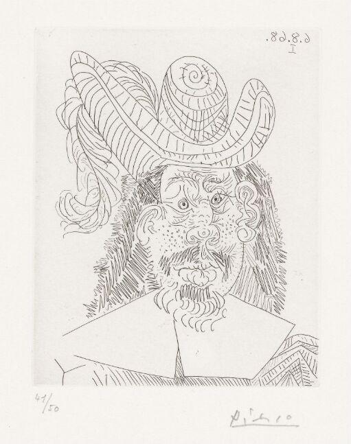 Portrett av aldrende musketer, med kvisete ansikt