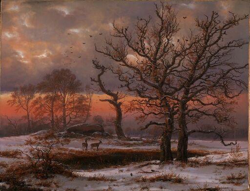 Dansk vinterlandskap med dysse