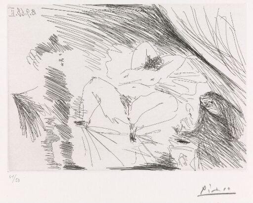 Ung kvinne i sengen, koblersken og en herre