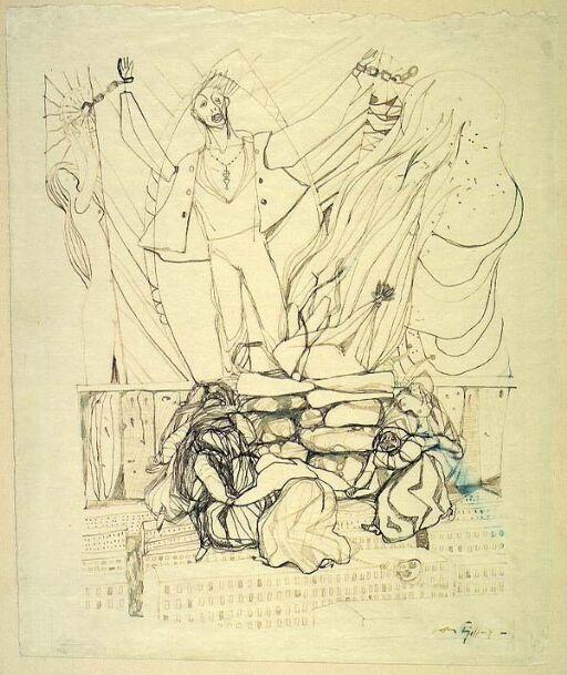 """Illustrasjon til Walt Whitman, """"Sangen om meg selv"""", Oslo 1947"""