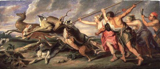 Hjortejakt. Etter Peter Paul Rubens og Frans Snijders
