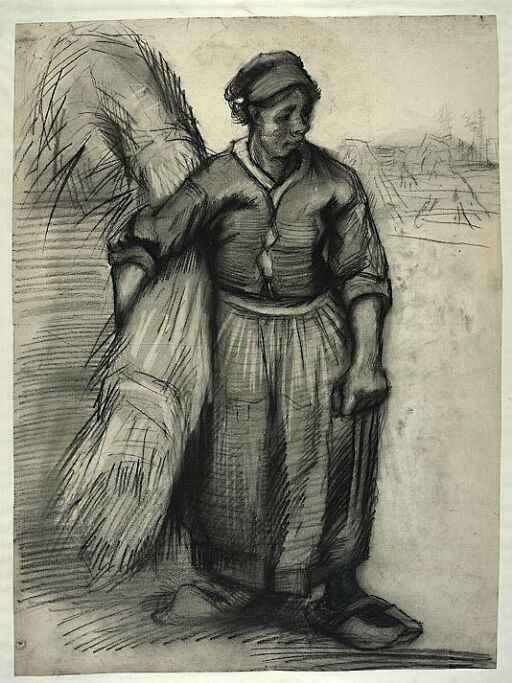 Peasant woman carrying a sheaf of grain, seen from the front