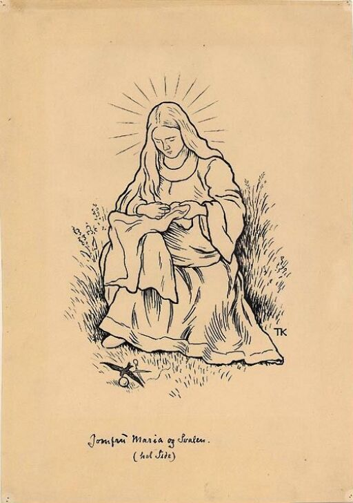"""Illustrasjon til """"Jomfru Maria og svalen"""", P. Chr. Asbjørnsen og J. Moe"""