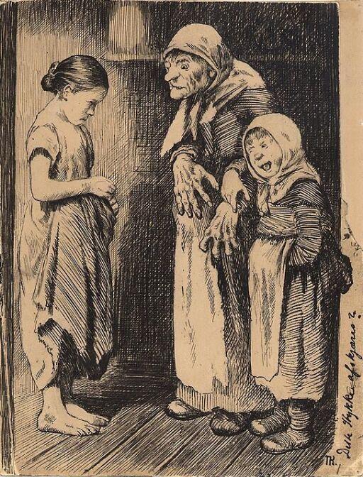 "Illustrasjon til ""Manddatteren og Kjærringdatteren"" i P. Chr. Asbjörnsen og J. Moe, Eventyrbog for Børn. Norske Folkeeventyr, København 1883"