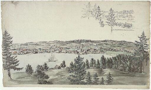 Moss sett fra Jeløya; landskap ved Christianiafjorden