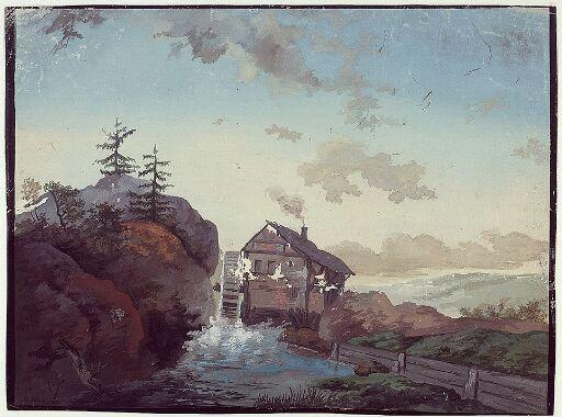 Landskap med foss og kvernhus