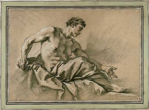 Studie av sittende mann med draperier