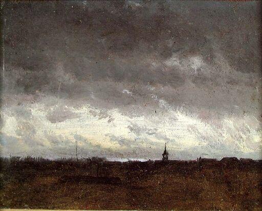Skyet kveldshimmel over en landsby