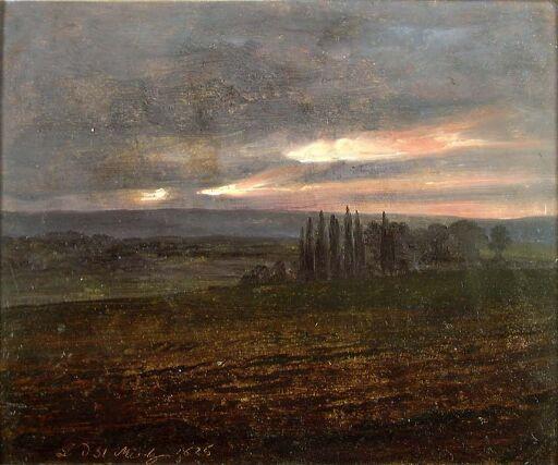 Evening Sky over Fields with Poplars