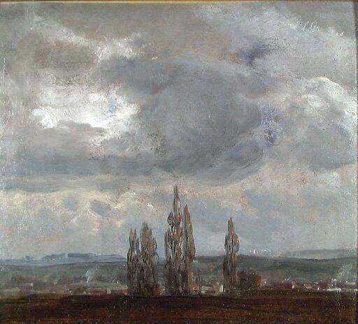 Skyhimmel over popler ved Dresden
