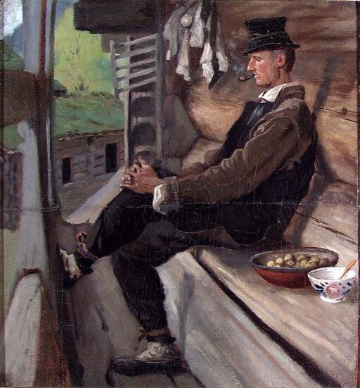 Farmer from Setesdal smoking a Pipe