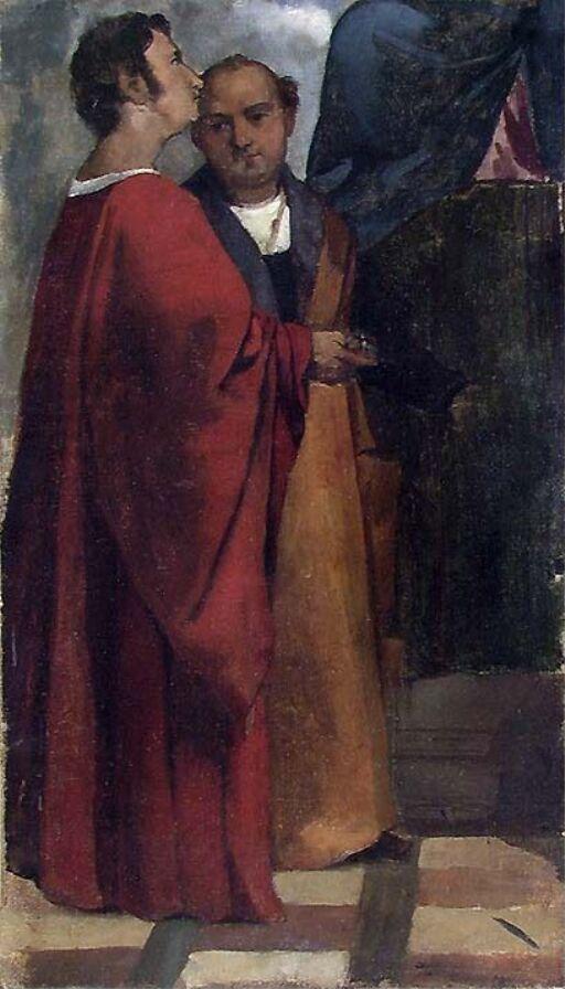 Helgenene Cosmas og Damian, (Figurstudier etter Tizian)