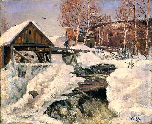 Vinterlandskap med mølle