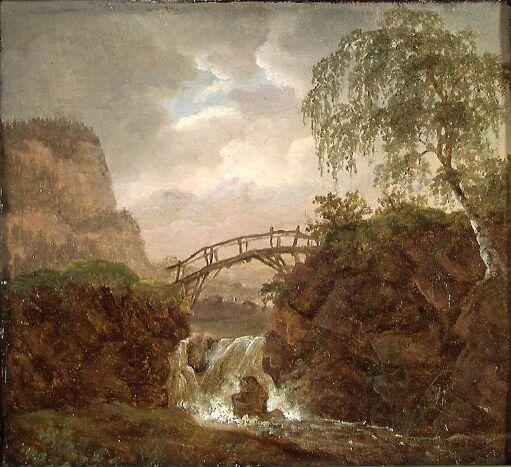 Nordisk landskap med bro