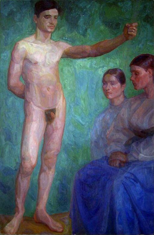 Naken mann og to kvinner