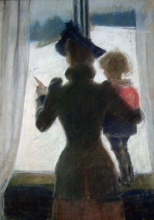 Oda og Per ved vinduet