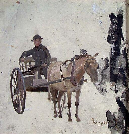 Mann med hest og kjerre