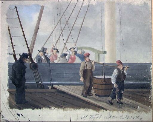 Sailship being unloaded at the Quai