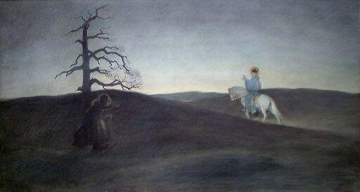 St. Olav og Gjogola i et aftenlandskap